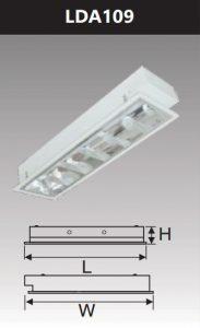 Máng đèn led phản quang âm trần 1x9w LDA109