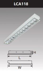 Máng đèn led phản quang âm trần 1x18w LCA118