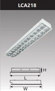 Máng đèn led phản quang âm trần 2x18w LCA218