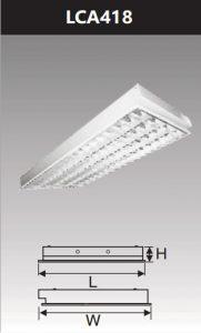 Máng đèn led phản quang âm trần 4x18w LCA418
