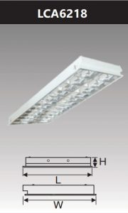 Máng đèn led phản quang âm trần 2x18w LCA6218