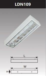 Máng đèn led phản quang gắn nổi 1x9w LDN109