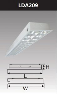 Máng đèn led phản quang âm trần 2x9w LDA209