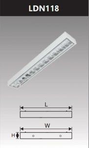 Máng đèn led phản quang gắn nổi 1x18w LDN118