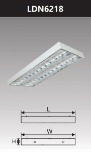 Máng đèn led phản quang gắn nổi 2x18w LDN6218