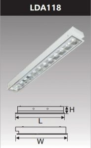 Máng đèn led phản quang âm trần 1x18w LDA118