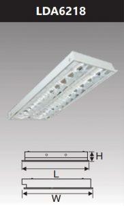 Máng đèn led phản quang âm trần 2x18wLDA6218