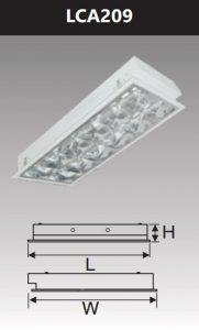 Máng đèn led phản quang âm trần 2x9w LCA209