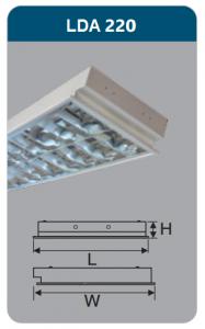 Máng đèn phản quang âm trần 2x18w LDA220