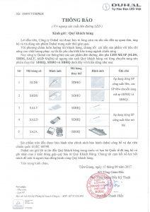 DUHAL: Thông báo ngưng sản xuất một số mã đèn đường led và đèn pha led